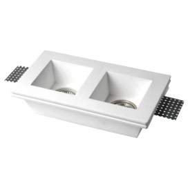 Spotlight Χωνευτό Δίφωτο Τετράγωνο Γύψινο Φωτιστικό GU10 Λευκό (5630)