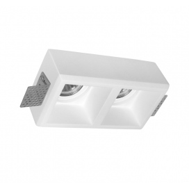 Adeleq Χωνευτό Γύψινο Φωτιστικό 2xGU10 Λευκό (21-11011)