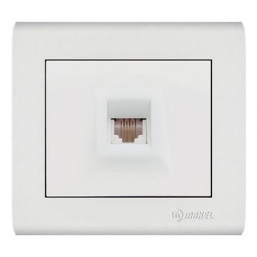 Makel Manolya Μονή Πρίζα Τηλεφώνου RJ11 Λευκή (41001014)