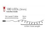 180 Led (3mm) Ψυχρά με Πράσινο Καλώδιο & Πρόγραμμα (180W44T8FG)