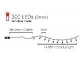 300 Led (3mm) Ψυχρά με Πράσινο Καλώδιο & Πρόγραμμα (300W44T8FG)