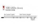 100 Led (3mm) Κόκκινα Λαμπάκια με Ασημί Καλώδιο Χαλκού & Πρόγραμμα (XSW100RAF44)