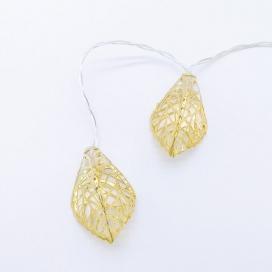 10 Led (5mm) Θερμά Λαμπάκια Leaves με Χρυσό Μέταλλο (FMGLEAF10WW2A)