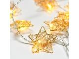 10 Led (5mm) Θερμά Λαμπάκια Stars με Χρυσό Μέταλλο (XMGSTAR10WW2A)
