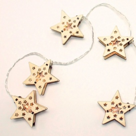 10 Led (5mm) Θερμά Λαμπάκια Wooden Star (XWSTAR102A)