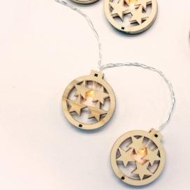 10 Led (5mm) Θερμά Λαμπάκια Wooden Round Stars (XWBSTARS102A)