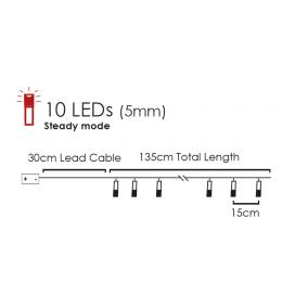 10 Led (5mm) Θερμά Λαμπάκια Woven Bag (XG10WW2A)
