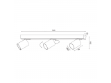 Aca Τρίφωτο Φωτιστικό Οροφής - Τοίχου Μαύρο (RA303S54BK)