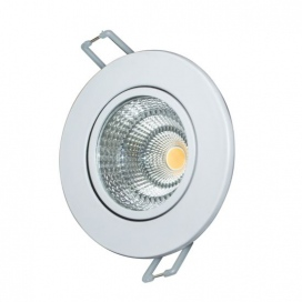 LED COB ΛΕΥΚΟ χωνευτό κινητό φωτιστικό οροφής 6W 60° 3000K (THEROC630R)
