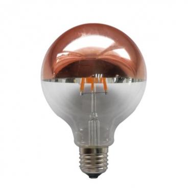 Λάμπα COG LED Half Rose Gold Globe Ø95 6W E27 2700K Dimmable