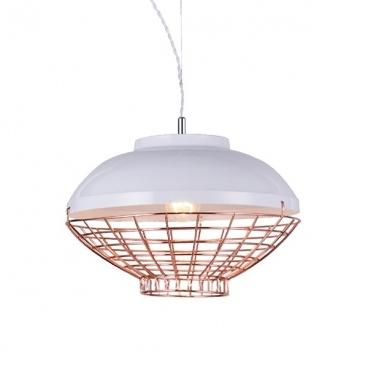 Aca Κρεμαστό Φωτιστικό Οροφής Λευκό - Χάλκινο(OD5396)