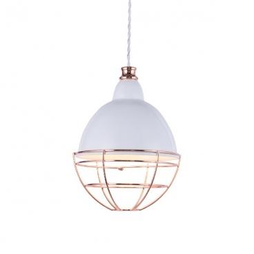 Aca Κρεμαστό Φωτιστικό Οροφής Λευκό - Χάλκινο(OD5399)