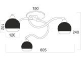 Aca Τρίφωτο Φωτιστικό Οροφής Χρώμιο (TNK81444CR3H)
