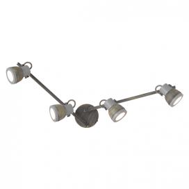 Aca Τετράφωτο Φωτιστικό Οροφής - Τοίχου Γκρι - Απόχρωση Σκουριάς (MC167794R)